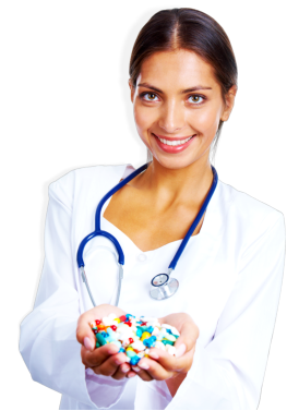 female pharmacist with a hand full of medicines