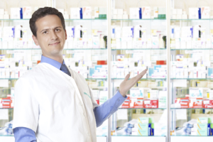 Pharmacist showing the medical supplies